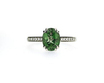 Green tourmaline ring, diamond, white gold, engagement ring, tourmaline engagement, green gemstone, solitaire, vintage style, oval cut