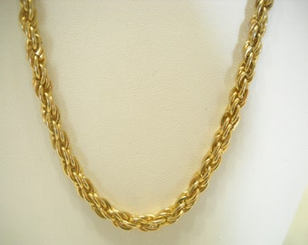 """Vintage 16"""" Gold Tone Twisted Rope Chain Necklace (8363)"""