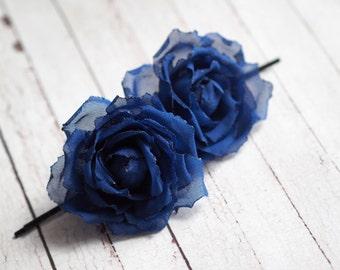Royal Blue Hair Accessory, Hair Pin Set, Blue Hair Pin, Royal Blue Pins, Blue Rose Pin, Blue Wedding Bobby Pin, Bridesmaid Rose Pin