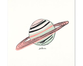 Neon Saturn Art Print