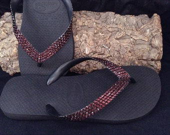Custom Crystal Flip Flops Burgundy Red Wine Maroon w/ Swarovski Bling Rhinestone Havaianas or Cariris Wedge Heel Beach Jewel Sandals Shoes