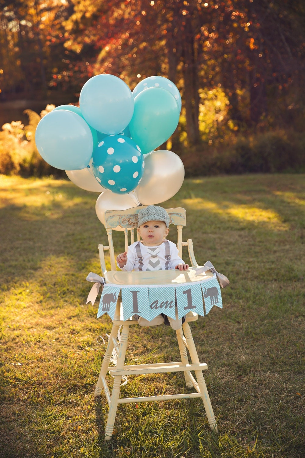 1st birthday boy i am one highchair banner i am 1 high for Baby boy birthday party decoration