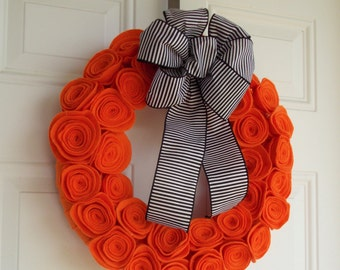 Halloween wreath - fall wreath - orange flower wreath