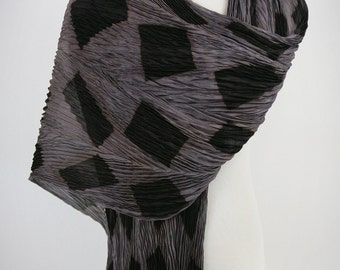 Silk Pleated Shibori Wrap Gray and Black Silk Scarf Shawl Wrap