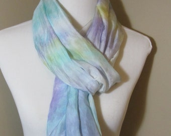 Hand dyed lemon and blue wide infinity scarf -