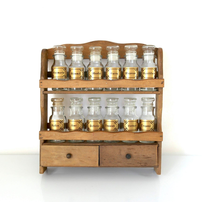 Vintage spice rack wooden mid century