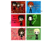 Harry Potter Valentine's Day Valentine Cards - Set of 24  or 36 (6 Designs) with Harry, Hermione, Ron, Severus Snape and Draco Malfoy