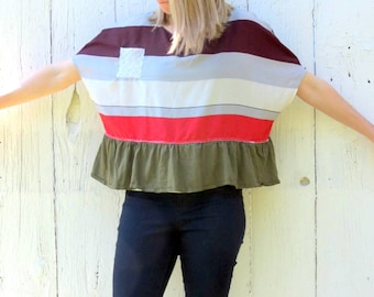 loose fitting cropped top - summer striped blouse - upcycled clothing for women size med-large recycled repurposed shabby chic clothes