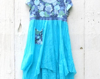 Turquoise pixie dress, tattered dress, shabby chic dress, Upcycled clothing, Eco friendly clothing, mori girl dress, empire waist dress