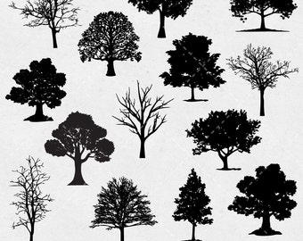 Tree Clip art, Tree Silhouette Digital clipart, Tree, pine, tree, forest, nature silhouettes - Commercial & Personal - Instant Download