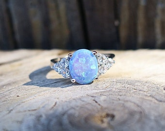 Classic Vintage 925 Sterling Silver Lab Opal CZ Ring
