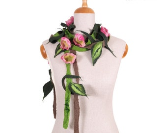 SALE!!!  lovely felt, felted necklace, elegant handmade collar, comfortable neckwear gorget flowers and leaves  - by inmano