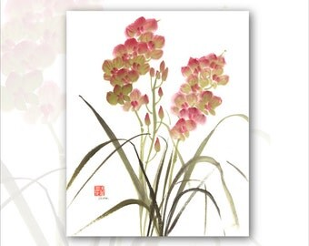 """8 x 10 Watercolor Chinese Brush Painting Print:""""Orchid 2"""""""