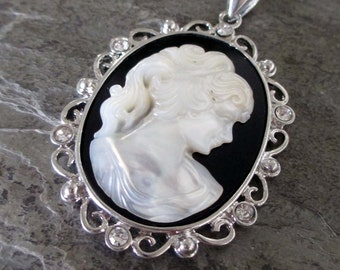 shell rhinestone cameo pendant black white womans face silver toned filigree setting oval frame classic victorian jewelry necklace supply