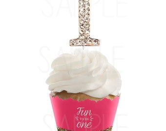 """Rhinestone Number Cupcake Toppers -1.80"""" First Birthday Cupcake topper"""