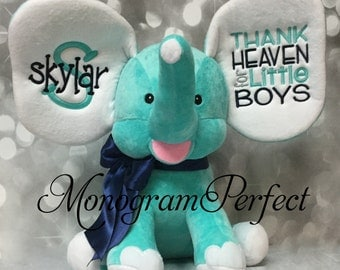New Exclusive Aqua Blue Personalized - Thank Heaven for Little Boys - Elephant
