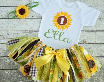 Sunflower Birthday Shirt Sunflower Birthday Onesie 1st Birthday Onesie Girl Birthday Shirt First Birthday Shirt Baby Girl Sunflower Outfit