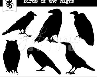 Birds of the Night Digital Clipart-Bird Silhouettes-Halloween-Raven-Crow-Owl-Vulture-Invitations-Scrapbooking-Instant Download Clip Art