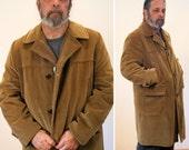 60s McGregor Corduroy Car Coat, Tan Blanket Lined Men's Winter Coat XL