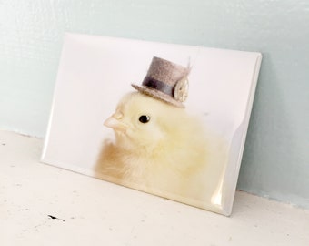 Chick Wearing A Steampunk Top Hat Baby Chicken Magnet Chicks in Hats