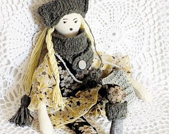 Textile doll, boho girl, rag doll, nursery decor, stuffed toy, handmade, handcrafted doll, boho decor, girls room, gray, yellow, black white