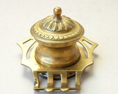 Vintage brass inkwell Brass liner Desktop ink well Art Nouveau round ink well with pen holder Cut out sides