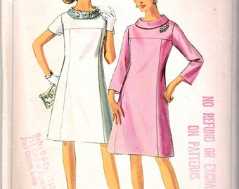 """Vintage 1967 Simplicity 7355 Mod Dress in Half Sizes Sewing Pattern Size 12 1/2 Bust 33"""""""