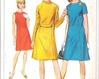 "Vintage 1967 Simplicity 7293 Mod Dress Sewing Pattern Size 10 Bust 31"" UNCUT"