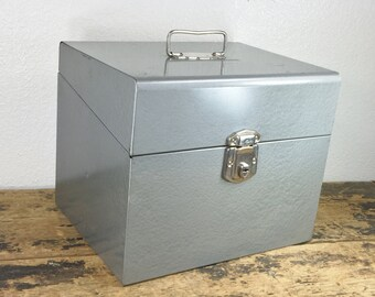Industrial Gray Metal File Box / Has Key / Storage Container