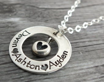 Sterling Silver Mom Jewelry for Her, Names Necklace Sterling Silver Necklace Names, Personalized Grandparent Gifts for Mom Necklace