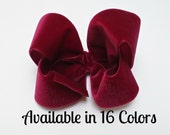 Hair Bows, Girls Hair Bows, Burgundy Hair Bow, Velvet Hair Bow, Christmas Hair Bow, 4 inch Hair Bows, Toddler Hair Bow, Hairbows, Velvet