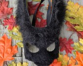 Black Rabbit Mask with Faux Fur! Leather mask, Bunny, Animal mask, Fursuit, Costume, LARP, Fursona, Cosplay,  Rabbit costume,  Halloween