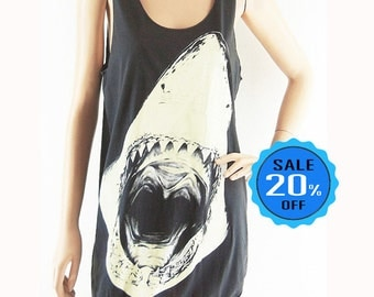 Shark tank top jaws shirt women tank top men tank topwomen shirt graphic tank top sleeveless size M