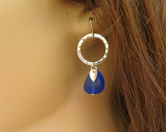 SALE:  Cobalt Blue Sea Glass Earrings. Blue and Silver. Silver Hoop Drop Earrings. Dangle Earrings.