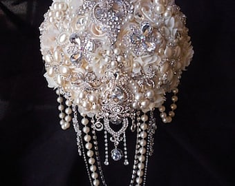 Cascading Jeweled Pearl Brooch Bouquet, DEPOSIT, Ivory and Silver Brooch Bouquet, Custom Bridal Brooch Bouquet, Ivory Bling Bouquet