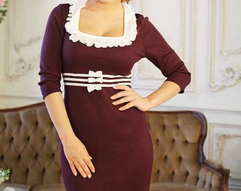 """Knitted maroon dress """"Violet"""" with lace emphasize best advantage. Midi dress"""