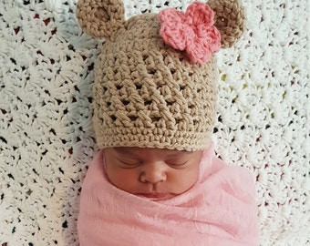 Crochet Baby Bear Hat, Cotton Baby Hat, Baby Bear Beanie, Baby Hat with Ears, Newborn Baby Hat, Baby Shower Gift, Crochet Baby Girl Hat