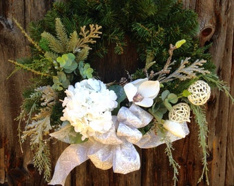 Christmas Wreath, Pine Wreath, White Hydrangea. Magnolia Wreath, Holiday Decor, Winter Wreath, Front Door Decoration