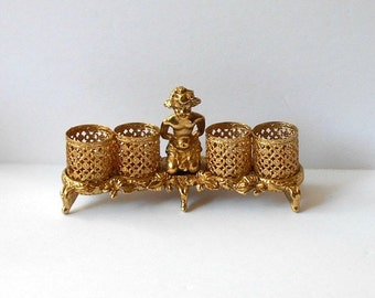 Vintage Cherub Lipstick Holder Gold Tone Vanity Dressing table decor