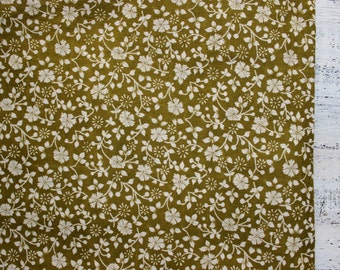 Vintage cotton fabric khaki olive green white floral 29x42 inches