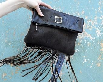 Fold over fringe crossbody bag,  Black leather fringe purse