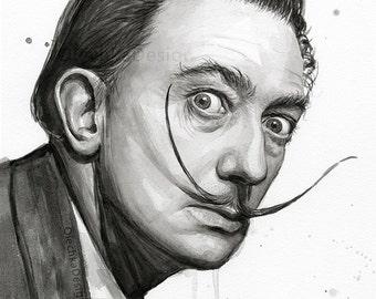 Salvador Dali Portrait, Watercolor Art Print, Salvador Dali Painting, Dali Art, Artist, Black and White Portrait, Salvador Dali Decor
