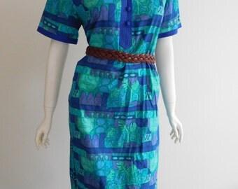 Turquoise Cotton 70s dress 14 Au