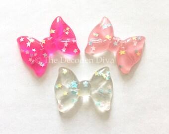 Glittery Bows - 4 pcs | DIY Phone Case | Kawaii Decoden Supplies | Resin Cabochons
