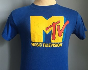 80s Vintage MTV Logo promo tv television music video T-Shirt - SMALL