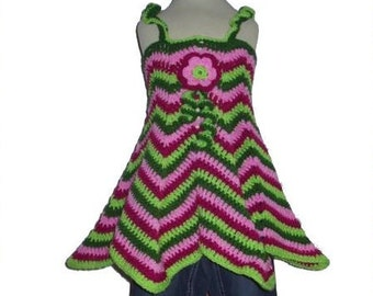 Colorful crochet Tunic -  HiPPie dress 3-4years 98/104