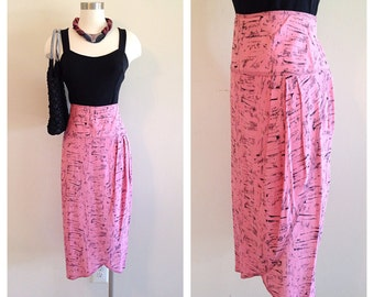 Retro 1980s Pink and Black High Waist Pencil Skirt Rockabilly New Wave Punk
