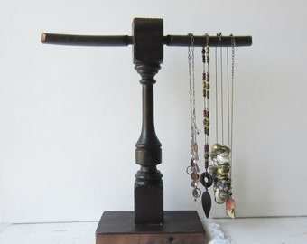 Necklace Display - Necklace Organizer - Recycled Architectural Salvage & Antique Piano Parts - Dark Brown Wooden Jewelry Display