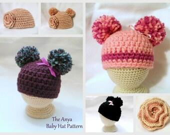 Crochet PATTERN Baby PATTERN The Anya Baby Hat Pattern Crochet Pattern Baby Girl Pattern Crochet Pom Pom Hat Pattern Baby Girls Hat Pattern