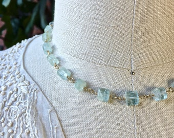 Blue Aquamarine Necklace - Naturally Faceted Crystalline Tubes of Aquamarine Wire Wrapped on Gold Chain, March Birthstone, Style No. NS972